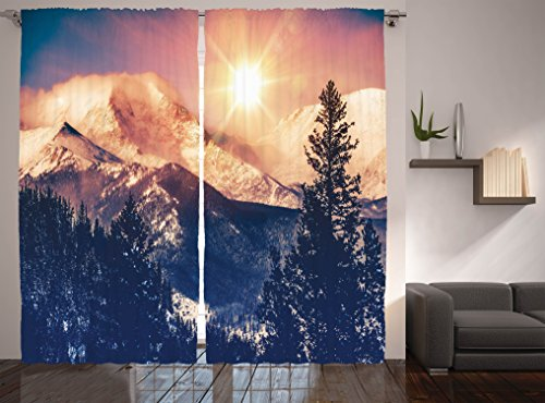 Ambesonne USA Nature Decor Collection, Mountains in Coloradao Bright Sun Snowy Hill View Print, Window Treatments, Living Kids Girls Room Curtain 2 Panels Set, 108 X 84 Inches, Blue White - At Woodland Village Hills