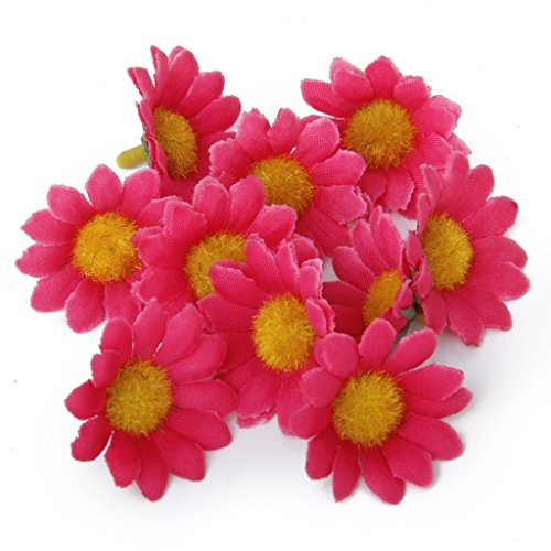 100Pcs Artificial Flowers Wholesale Fake Flowers Heads Gerbera Daisy Silk Flower Heads Sunflowers Sun Flower Heads for Wedding Party Flowers Decorations Home D¨¦cor Dark Pink (Wedding Gerber Pink Daisy)