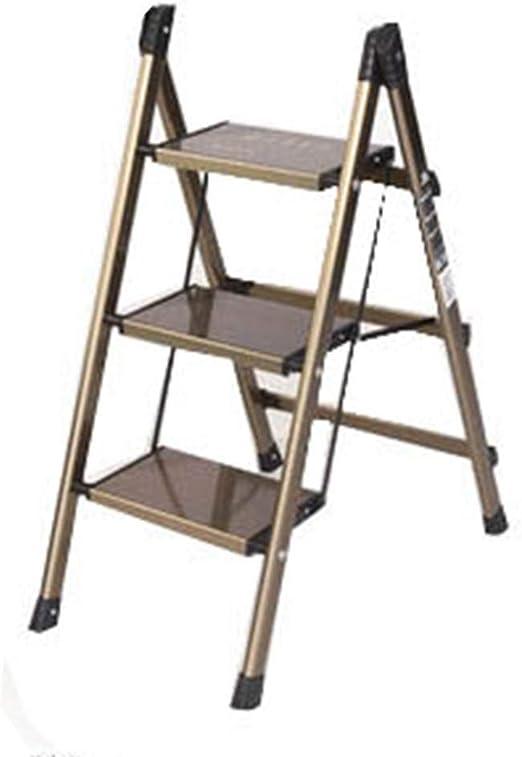 QQXX Escalera Escalera de Dos escalones Escalera de guardarropa Escalera multifunción Escalera pequeña Estantería Plegable para el hogar, Dorada, 47.5 67 88cm: Amazon.es: Hogar