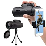 Monocular Telescope 12x50 Monocular Scope Bak4 Prism Telescope with Cell Phone Adapter and Tripod for Hunting Fishing Camping Surveillance