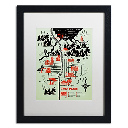 (Welcome To Twin Peaks by Robert Farkas, White Matte, Black Frame 16x20-Inch)