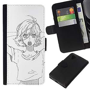 All Phone Most Case / Oferta Especial Cáscara Funda de cuero Monedero Cubierta de proteccion Caso / Wallet Case for LG Nexus 5 D820 D821 // Sketch White Black Anime Asian Girl