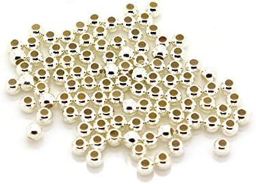 100 Stück Quetschperlen, 2 mm, 925 Silber