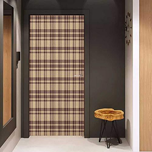 (Onefzc Door Wall Sticker Tan and Brown Old Fashioned Check Plaid Pattern Scottish Tartan Inspired Geometric Design Mural Wallpaper W32 x H80 Tan Brown)