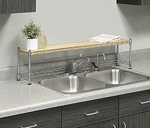 Whitmor Supreme Sink Shelf, Wood & Chrome