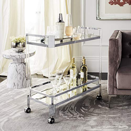 Safavieh SFV2529A Home Collection Gianna Glass Trolley Bar Cart, Clear/Silver