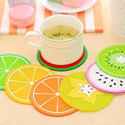 Lucrative shop Colorful Jelly Color Fruit Shape Coasters Creative Skid Insulation Silica Gel Cup