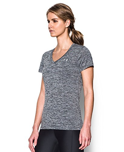Under Armour Women's Tech Twist V-Neck, Black /Metallic Silver, X-Small by Under Armour (Image #1)