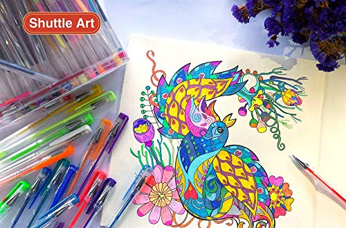Shuttle Art 260 Colors Gel Pens Set 220% Ink Gel Pen for Adult Coloring Books Art Markers 130 Colored Gel Pens Plus 130 Refills by Shuttle Art (Image #6)
