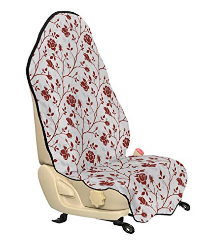 Ambesonne Floral Car Seat Cover, Monochrome Floral Arrangement Roses Leaves Branches Retro Environment Elements, Car and Truck Seat Cover Protector with Nonslip Backing Universal Fit, Ruby Beige White