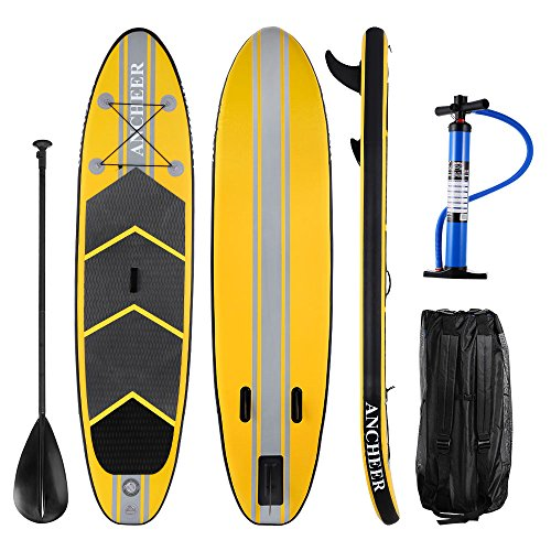 Ancheer DA02 10' PVC Inflatable Standup Paddleboards, Stand Up Paddle Board, iSUP Paddle Board with Adjustable Paddle and Dual Action Pump and Backpack, 6' Thick (DA02-Y)