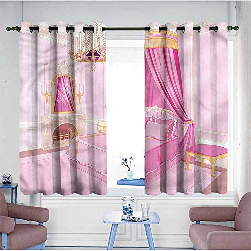 (VIVIDX Simple Curtains,Princess,Princess Bedroom Interior,Treatment Thermal Insulated Room Darkening,W63x45L)