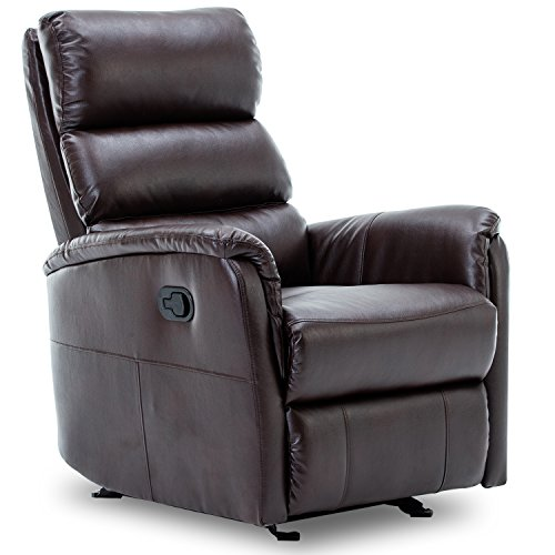 Bonzy Glider Rocking Rocker Recliner Chair Leather Gliding Living Room Chair - Brown