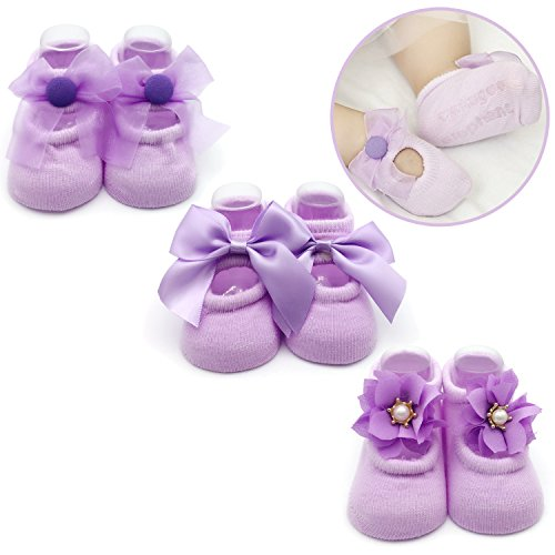 Lavender Girls Shoes - Elesa Miracle Non-skid Baby Girl Toddler Mary Jane Socks, Newborn Baby Photography Props Anti Slip Flower Pearl Bownote Socks Value Set in Gift Box (S for 0-6 Months, Lavender)