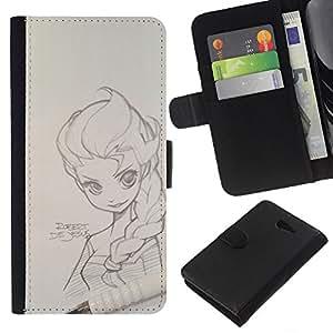 KingStore / Leather Etui en cuir / Sony Xperia M2 / Zeichnung Kunst-Mädchen