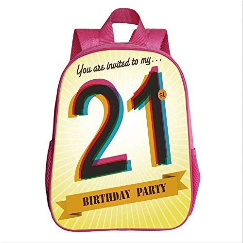 - 21st Birthday Decorations School Bag Backpack,Invitation to an Amazing Birthday Party on Golden Backdrop Image for Kindergarten Baby,9.4''Lx4.7''Wx11.8''H