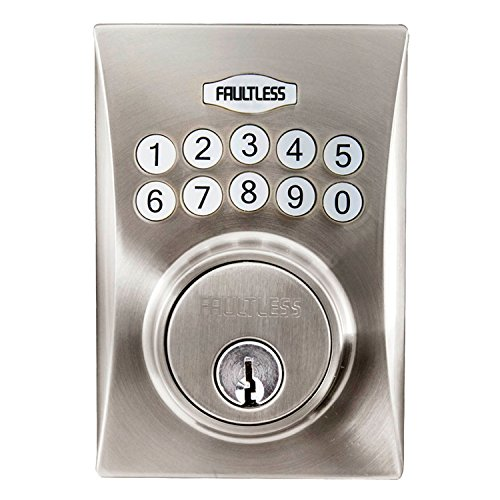 Faultless GACX2D01AAP Hourglass Electronic Keypad Deadbolt, Satin Nickel Faultless