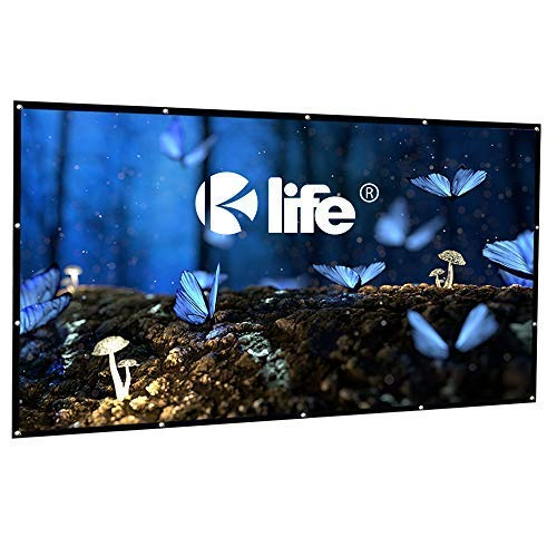 Kolife 120 Inch Projection Screen 16:9 HD Portable Anti-Crease Foldable Indoor Outdoor Projector Movie Screen, Free Hooks