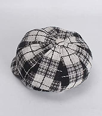 ACVIP Womens Fall Winter Plaid Newsboy Cabbie Cap Visor Beret Hat
