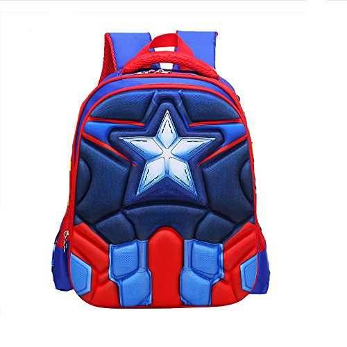 Alipher 3D School Backpack Waterproof Kids Backpack Comic School Bag Student Bookbag Captain America Muscle