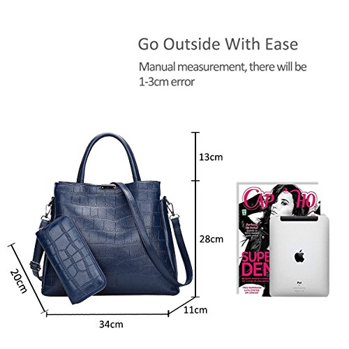Handbag Purse 2PCS Messenger amp;Doris Bag Nicole Shoulder Black Crocodile Ladies Crossbody Blue Leather PU Bag zq1Sw