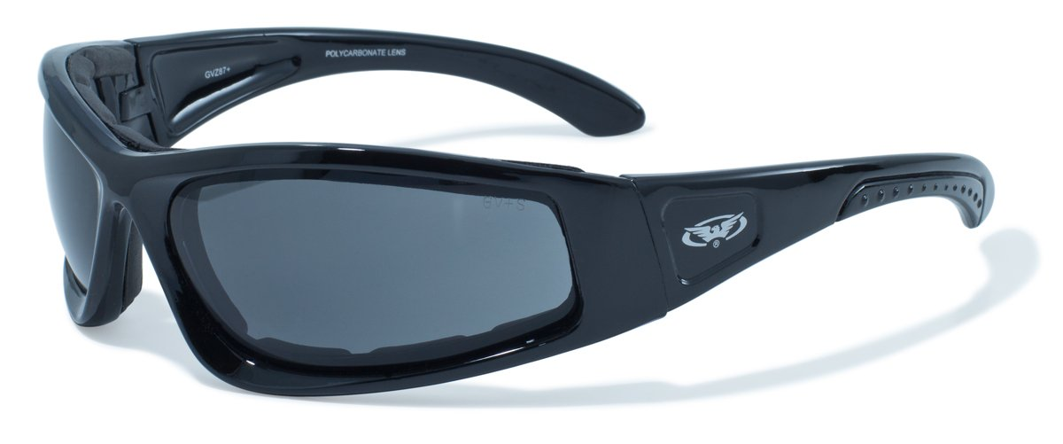 Global Vision Motorcycle wraparound sunglasses with E.V.A foam lining and shatterproof lenses complete with free microfibre storage pouch.