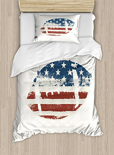 Sports Duvet Cover Set Twin Size by Ambesonne, Grunge American Flag Themed Stitched Rugby Ball Vintage Design Football Theme, Decorative 2 Piece Bedding Set with 1 Pillow Sham, Cream Blue (104 Rugby)