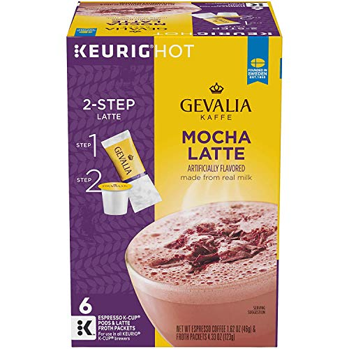 Gevalia Mocha Latte Espresso Coffee with Froth Packets, K-Cup Pods, 6 Count (Pack of 1)