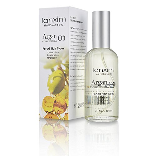 Lanxim Argan Oil Hair Protector Spray - 3.5 oz Thermal Heat Protectant Against Flat Iron - Sulfate Free 100% Organic & Natural Prevents Damage Dryness Breakage & Split
