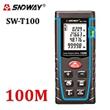 SNDWAY Digital Laser Distance Meter trena laser Measure tool Range Finder W/ Large Backlit LCD Display, Bubble Level, Self Calibration Rangefinder Diastimeter (0.16 to 329ft)