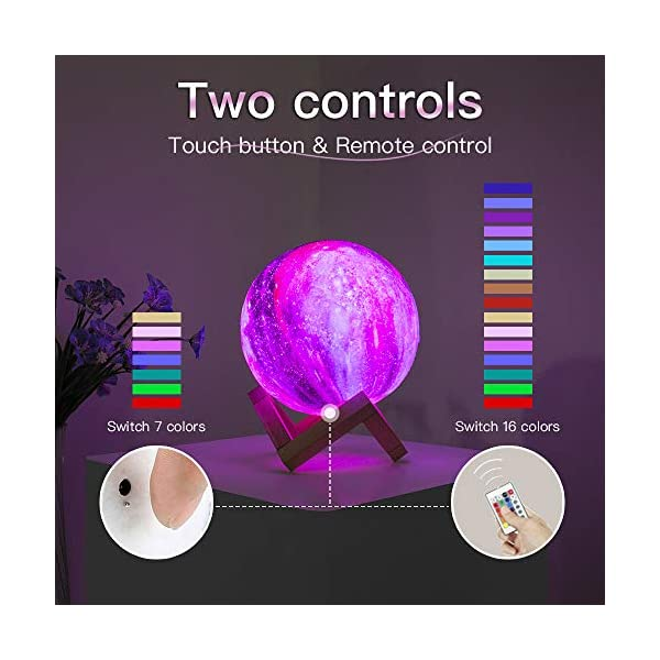 Brightworld Moon Lamp Kids Night Light Galaxy Lamp 59 Inch 16 Colors Led 3d Star Moon Light With Wood Stand Remote Touch Control Usb Rechargeable Gift For Baby Girls Boys Birthday