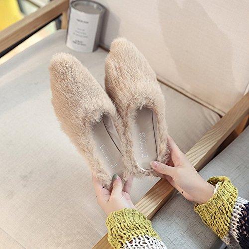 Chaussons Pantoufles 37 noir Daim Baotou Simples Maison Pantoufles Rond Plat Coton EUR Chaussures 88BRaW