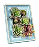 Kumii 3D Artificial Flowers With Wood Frame for Tabletop Frame Desk Decor and Art Home Decor (Blue Tabletop Frame)