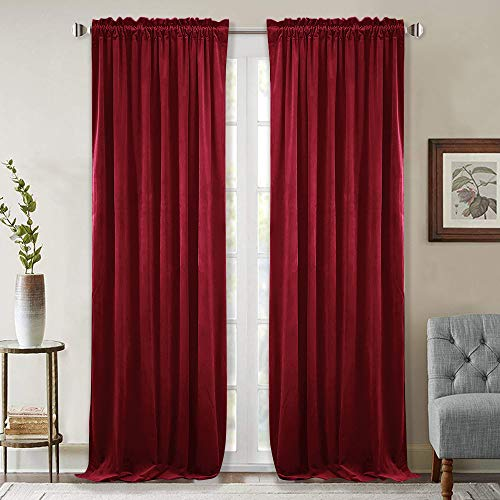 StangH Theater Red Velvet Curtains - Rustic Home Decor Sound Absorbing Blackout Heavy Duty Velvet Drapes with Dual Rod Pocket for Media Room, Ruby Red, W52 x L84-inch, Sold 2 Panels