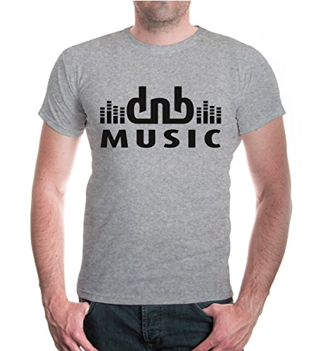 T-Shirt DnB Music-L-Heathergrey-Black