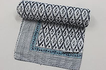 indianhandicraft indio kantha cama cubierta Vintage Kantha edredón manta manta de algodón Gudri Colcha, solo