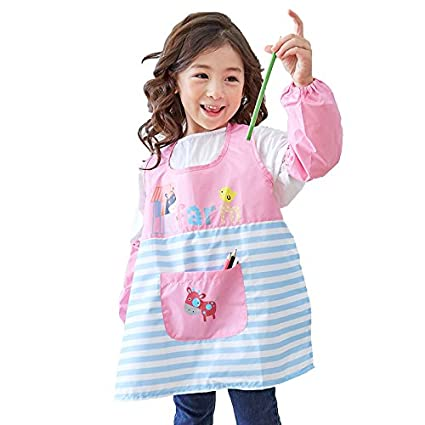 Hosim Kids Painting Apron for Girls and Boys, Children's Multicolor Waterproof Art Craft Smock with Oversleeves & Large Pocket, Reusable Kitchen & Painting Aprons (Dark Blue, S) PAS-DB-S