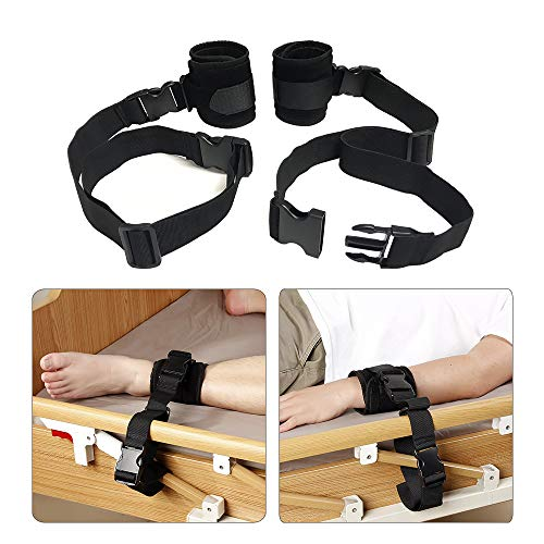 Medical Restraints Control Limb Holders Beds Bed Restraint for Hand, Feet, Ankle (1 Pair - Black) (Sex Hand Restraints)