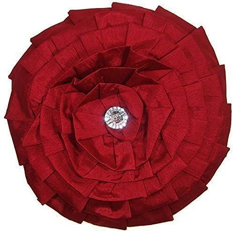 Cojín redondo diamante plisado con volantes seda falsa rojo ...