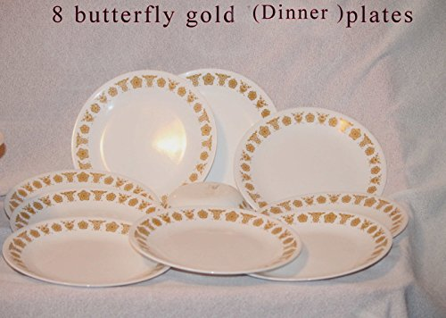 Corelle Butterfly Gold - SET OF 8 - Vintage 1970's Corning Ware Corelle Butterfly Gold 10 Inch Dinner Plate