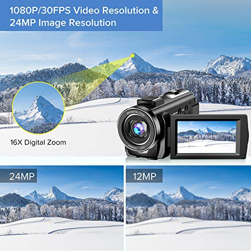Video Camera Camcorder YouTube Vlogging Camera FHD 1080P 30FPS 24MP 16X Digital Zoom 3 LCD 270 Degrees Rotatable Screen Digital Camera Recorder with Microphone,Remote Control,2 Batteries