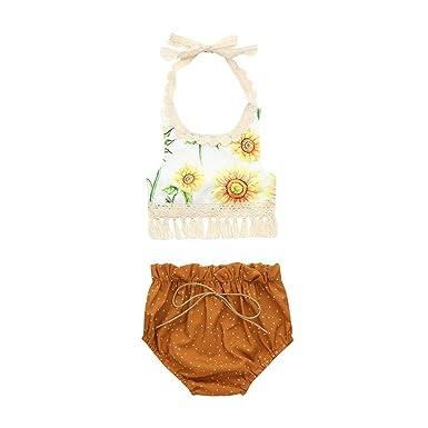 29626d150 Amazon.com  Toddler Infant Baby Girls Sunflower Backless Tassel Tops ...