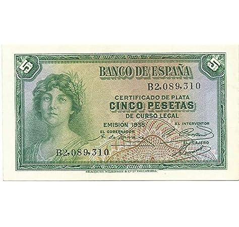 Matidia ESPAÑA Billete Original II REPÚBLICA 5 PESETAS 1935: Amazon.es: Juguetes y juegos