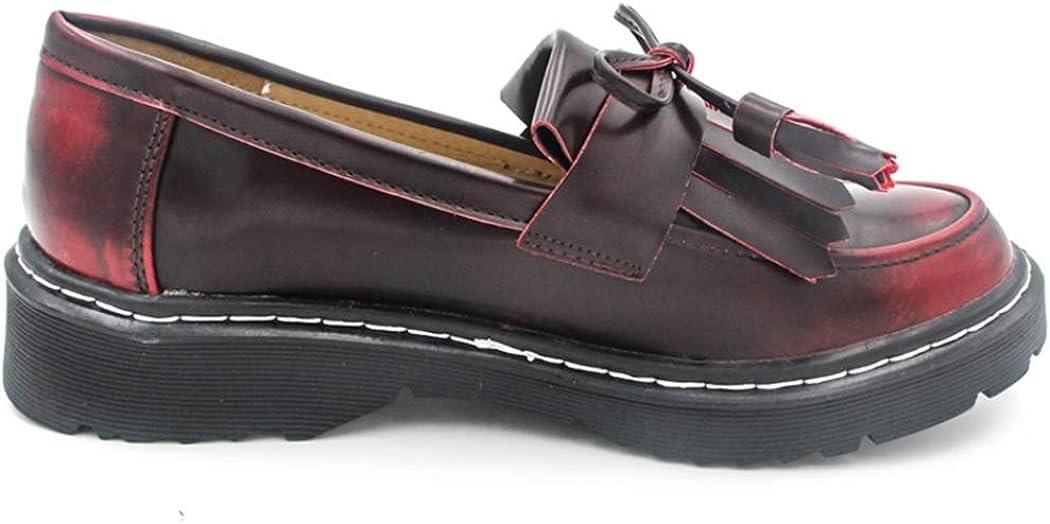 Mocassini da Donna Oxfords Scarpe in Pelle Piattaforma Mocassini Elegante Nappa Abito Slip-On da Lavoro Camminare Guida Appartamenti per Donna Rosso