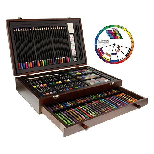 U.S. Art Supply 143 Piece-Mega Wood Box Art, Painting & Drawing Set, Now contains a Bonus Color Mixing Wheel (Faber Castell Box)