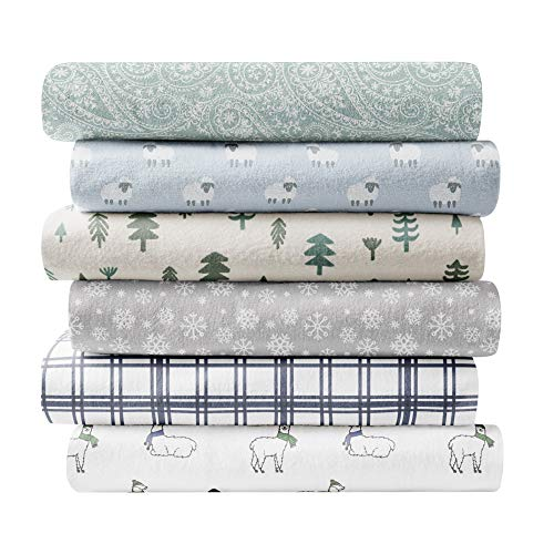 Brielle 100-Percent Cotton Flannel Sheet Set, Full, Snowflake Light Grey
