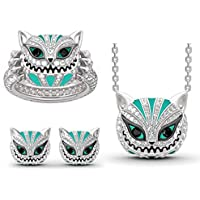 Kouye Skull Cat Necklace Earring Ring Set Women Fashion Rhinestone Alloy Jewelry Sets