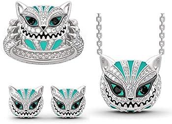 Kouye Skull Cat Necklace Earring Ring Women Rhinestone Alloy Jewelry Sets
