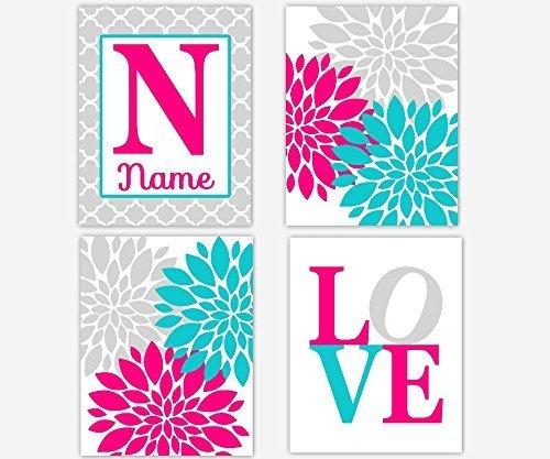 Amazon.com: Girl Room Wall Art Hot Pink Aqua Gray Prints Flower ...