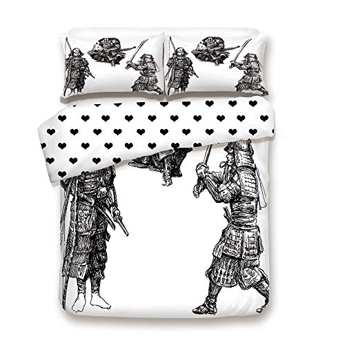 Duplex Print Duvet Cover Set Twin Size/Sketch of Three Samurais with Medieval Weapons Vintage Style Asian Historic Heros/Decorative 3 Piece Bedding Set with 2 Pillow Sham,Black White,Best Gift For You ()